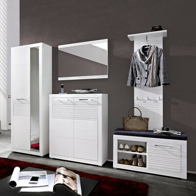 garderobe life set 4 teilig flur und dielenm bel wei hochglanz geriffelt eur 489 95 picclick de. Black Bedroom Furniture Sets. Home Design Ideas