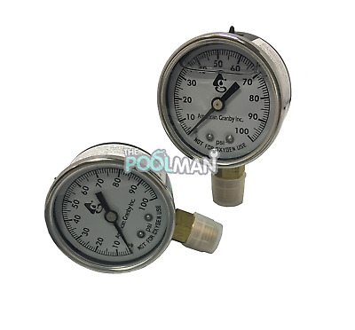 "2 Pack Water Well Pump Liquid Filled Side Mnt Pressure Gauge 100 PSI, 1/4"" MNPT"