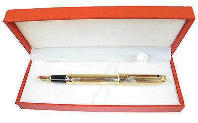 S. T. Dupont Orpheo Gold Fountain Pen 18 Kt Gold Nib M New In Box