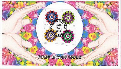Jvc Cachets - 4 Stamp Kaleidoscope Flower Issue First Day Cover Fdc-Last One !