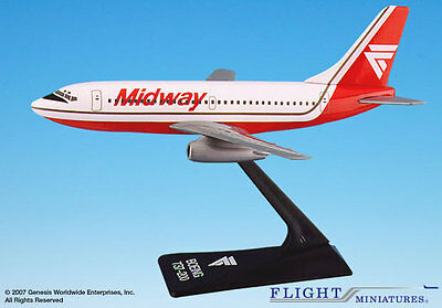 Flight Miniatures Midway Airlines 1984 Boeing 737-200 1:180 Scale New with Stand