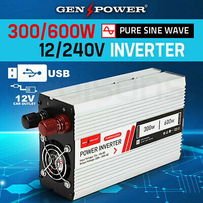 NEW! PURE SINE WAVE POWER INVERTER MAX 12/240V 300W / 600W Car FWD Caravan Boat
