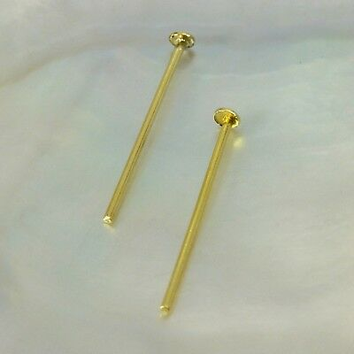 """24K Gold Vermeil on 925 SILVER HEAD-PIN Findings Pair 3-Micron Gold-Plated 0.8"""""""
