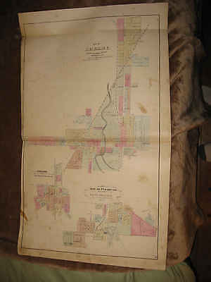 Antique 1873 Shelby Shiloh Plymouth Richland County Ohio Handcolored Map Nr