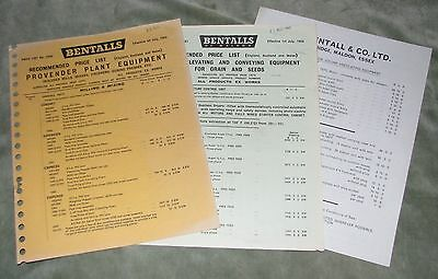 E H BENTALL & CO LTD (MALDON) PRICE LISTS (x3)