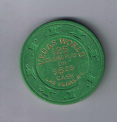 Vegas World $25.00 In Casino Play Or $6.25 In Cash Casino Chip Las Vegas Nevada