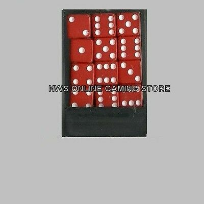 Koplow D6 Dice Set: Red/White Opaque 12mm (36) Square Cornered - NEW
