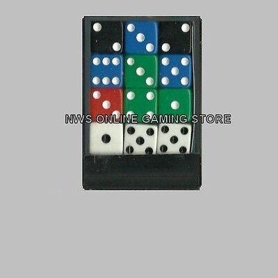 Koplow D6 Dice Set: Assorted Colors Opaque 12mm (36) Square Cornered - NEW