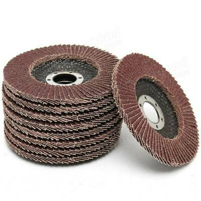 "10 X FLAP DISCS 115mm 4.5"" SANDING 40 60 80 120 GRIT GRINDING WHEELS"