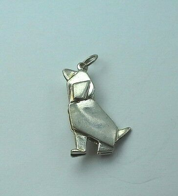 Origami Style Basset Hound Charm - Sterling Silver
