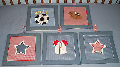 Lambs & Ivy ALL STARS sports 5-piece wall hangings EUC