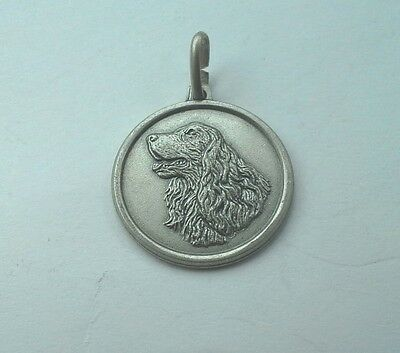 Cocker Spaniel Round ID Charm  Antiqued Sterling Silver