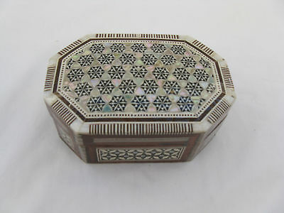 "Egyptian Wood Inlaid Mother Pearl Octagon Handmade jewelry Box 4.75""  #271"