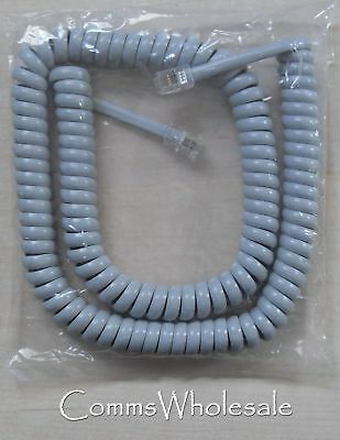 Replacement Telephone Handset Curly Cord Grey - 62 cm length in coiled state