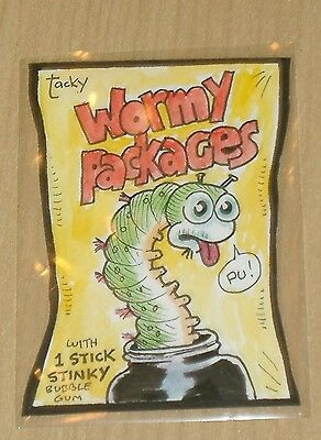 2013 Topps Wacky Packages ANS10 ANS 10 COLOR sketch card Mark Parisi 1/1 WORMY