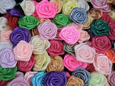 Ribbon Roses Satin Mixed Colours 100pcs Flower Sewing Craft  FREE POSTAGE