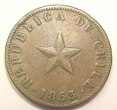 1853 Chile Large Un Centavo Scarce Date Low Mintage Must See