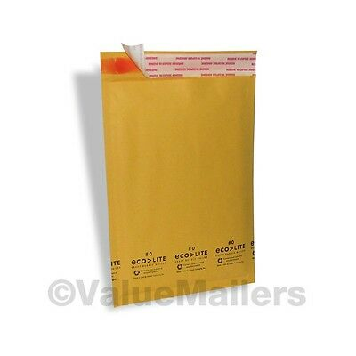 "1000 #0 6.5X10 "" Ecolite "" X- Wide Kraft Bubble Mailers Padded Envelopes Bags"