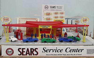 Marx 60s Tin Litho Sears Service Gas Station Play Set MIB 1995 Reissue 1:43