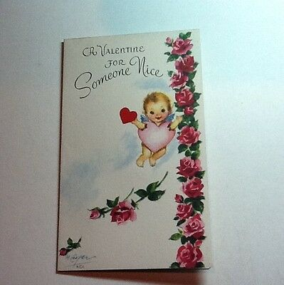 A924- Vintage Marjorie M. Cooper Valentine's Greeting Card Angel & Pink Heart