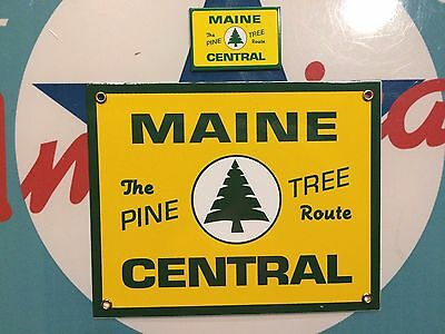 MAINE CENTRAL railroad - Porcelain Coated Metal Sign - includes matching magnet
