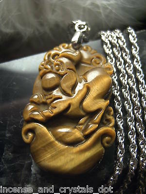 TIGER EYE Hand Carved Chinese Zodiac 35mm Pendant/Chain.Year Of The PIG