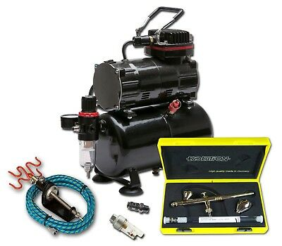 PISTON COMPRESSOR WITH TANK AND HARDER & STEENBECK EVOLUTION 2 in 1 AIRBRUSH KIT