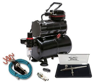 Piston Compressor With 3 Litre Tank And Harder & Steenbeck Ultra Airbrush Kit