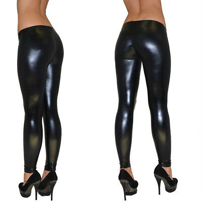 Leggings Leggins Legging Legings Legins Hose Leder-Look Glanz Wet-Look L55