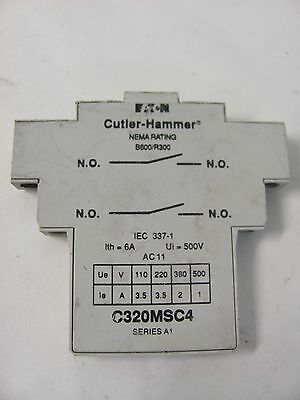 Cutler-Hammer Auxiliary Contact C320Msc4 Series A1 Nema Rating B600/r300 6A 500V