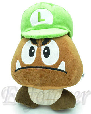 "7.5"" Super Mario Bros Green Hat GOOMBA Cute Soft Plush Doll Toy^MX1556"