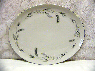 TAYLOR SMITH TAYLOR CHINA*SILVER WHEAT*OVAL SERVING PLATTER