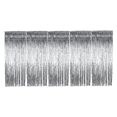 5 x Silver Foil Door Shimmer Curtain - Party Decoration 8 foot x 3 foot Curtains