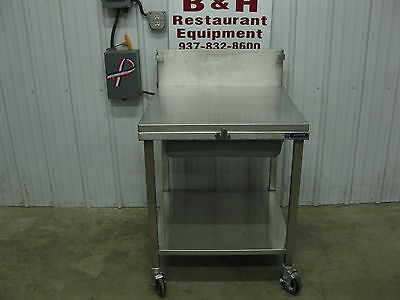 "Amtekco 29"" Stainless Steel Chicken Hand Breading Work Table Prep Station w/ Lid"