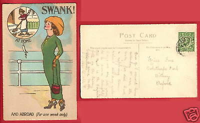 CPA fantasy postcard Swank at home and abroad for one week only HUMOUR GB [627R]