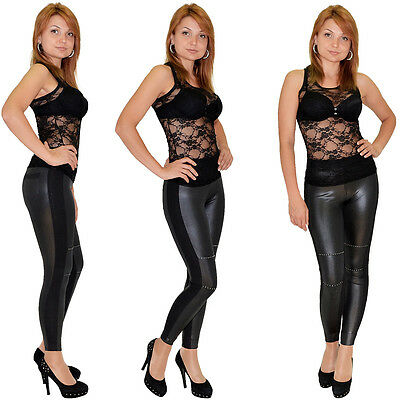 Leggings mit kleinen Strass Steinen Wet Look Leder-Look Leggins Legings Hose