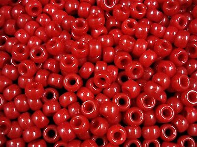 Pony Beads 9x6mm Red 100pc Kids Hair Toy Jewellery Party Fun Rave FREE POSTAGE
