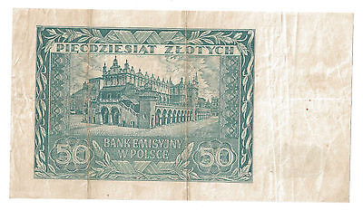50 ZLOTYCH 1941  German Occupation WWII View of CLOTH HALL in Krakow  P 102