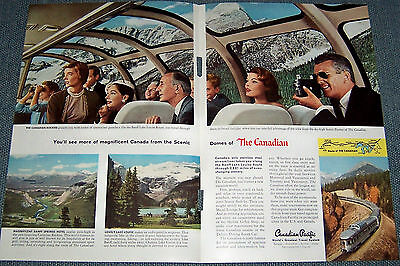 2-page 1957 Ad ~ CANADIAN PACIFIC Railroad Scenic Dome via the Canadian Rockies