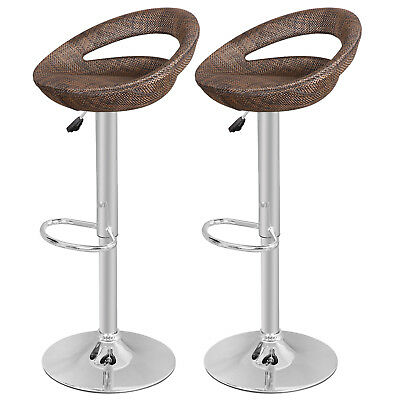 2PCS Adjustable Height Modern Pub Rattan Swivel Wicker Bar Stool Dinning Chair
