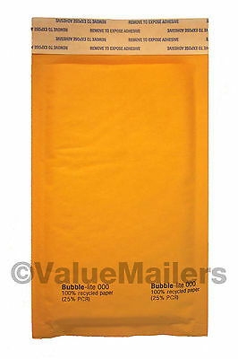 "500 #000 4x8 "" Bubble - Lite "" Kraft Bubble Mailers Padded Envelopes Bags"