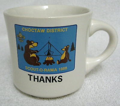Boy Scouts BSA Ceramic Coffee Mug 1986 Scout-O-Rama Choctaw District Thanks