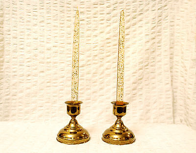 2 MCM LUCITE w GOLD Mica FLECKS Candlesticks in BRASS Candle Holders