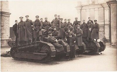"""ESTONIA Liberation War FIGHTERS and OFFICERS near 3 TANKS """"RENAULT"""" Photo 1920"""