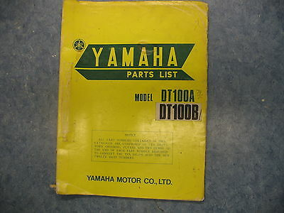 Yamaha Parts List Numbers Manual 1974 Dt100A Dt100B 100