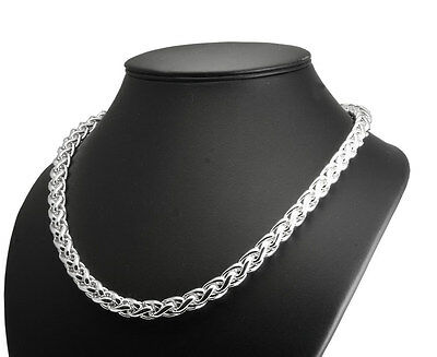 Mens Heavy Weight Solid Hallmarked Sterling Silver Braided Curb Chain