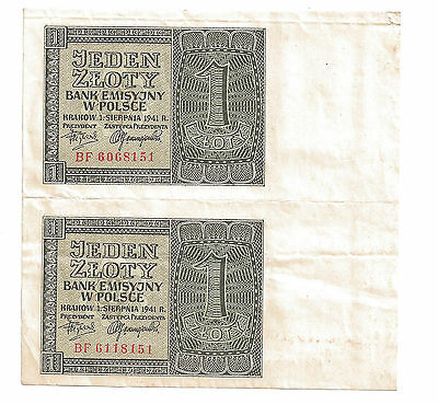 POLAND 2 X 1 ZLOTY 1941 PAIR J P 146  Pick 99