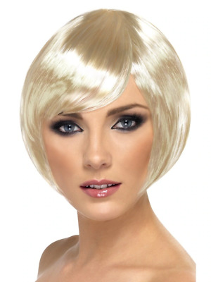 Blonde Babe Wig Short Bob with Fringe Adult Womens Smiffys Fancy Dress Costume
