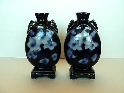 HARD-TO-FIND MATCHED PAIR of ANTIQUE ENGLISH FLOW BLUE VASES