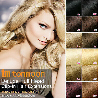 UK Deluxe Premium Clip In Remy 100% Real Human Hair Extensions Clips Full Head